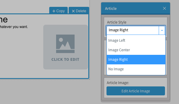 Click on the article properties and choose a style