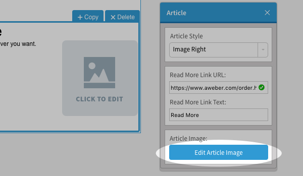 Click Edit Article Image