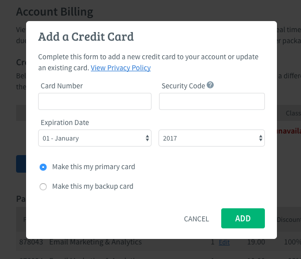 Select your credit card status