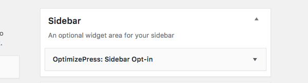 Select OptimizePress Sidebar Opt-In