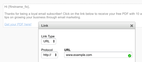 Hyperlinking the hosted URL