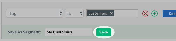 Green Save button to right of Save As Segment section