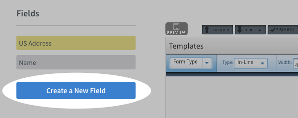 blue Create a New Field button highlighted