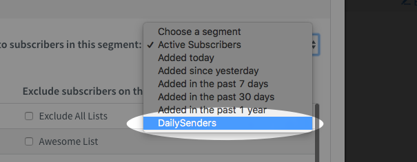 Segment selected in Choose A Segment drop down menu in Schedule a Broadcast popup window