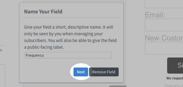 blue Next button highlighed in Name Your Field popup window