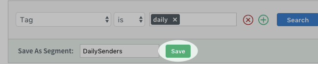 Green Save button highlighted in Save As Segment section