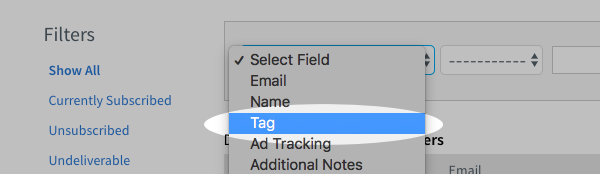 Select field drop down menu with Tag field selected