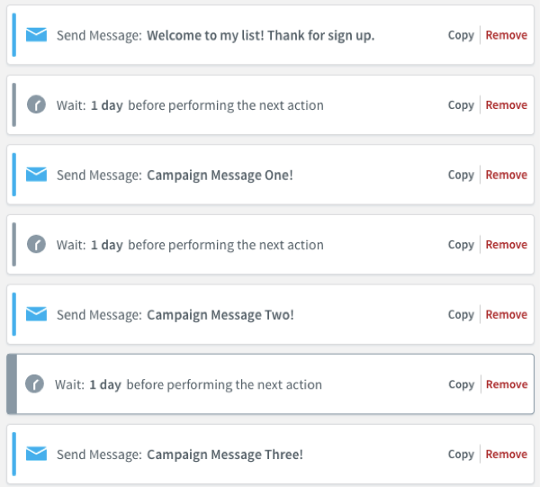 Adding Wait actions between messages