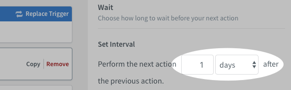 Place the Wait action and click Settings