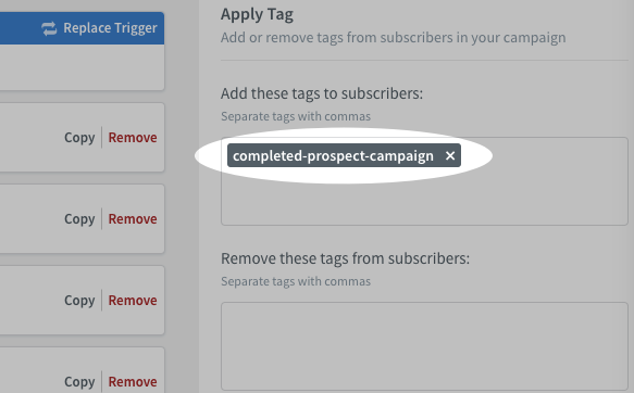 Apply tag action example