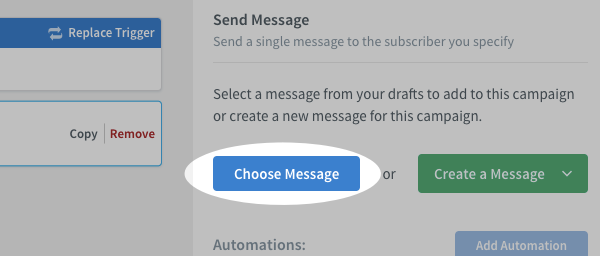 Send Message action settings