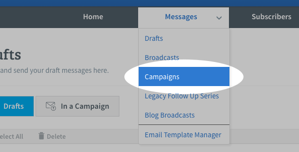 Select Campaigns from Messages