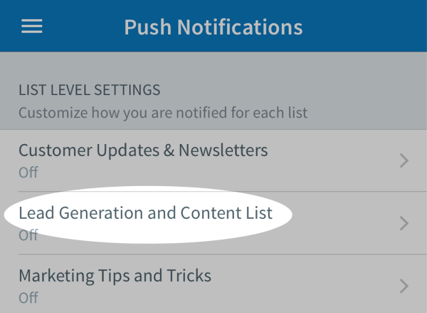Select list for notifications