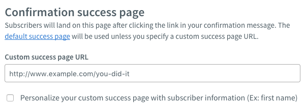 Confirmation Success Page section with custom URL