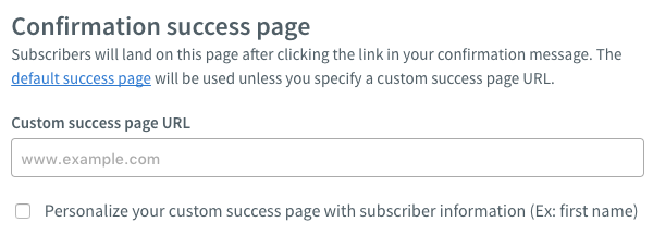 Confirmation Success Page section with no custom URL