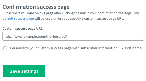 Custom success page URL