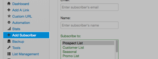 Add subscriber options