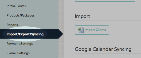 Click Import/Export/Syncing