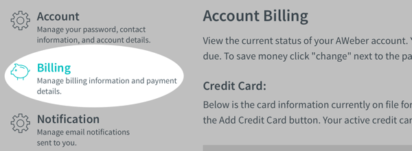 Choose Billing on the left