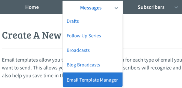 Select Email Template Manager from Messages
