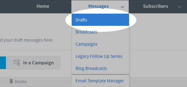 Hover over messages and select Drafts