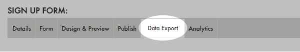 Click Data Export after you've edited your Campaign settings