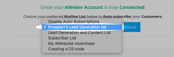 Select the AWeber list you'd like subscribers to be added to from the dropdown menu