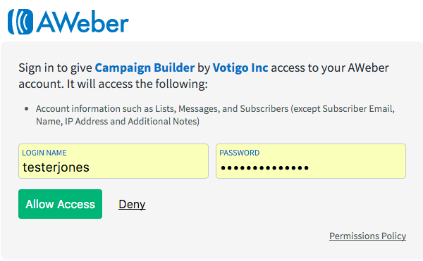 Enter AWeber login credentials and click Allow Access