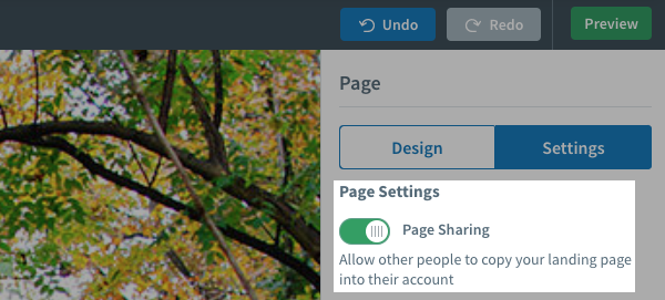 Page sharing is turned on in AWeber