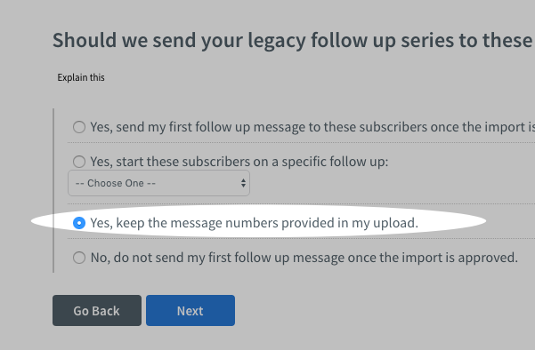 Yes, keep the message numbers provided in my upload toggle checked during import process