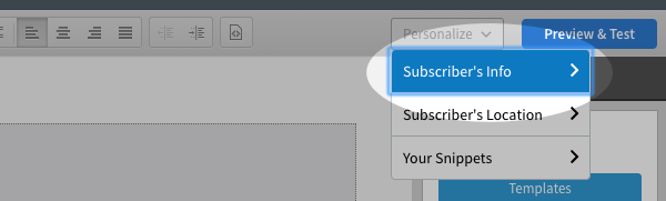 Subscriber's Info option selected from Personalize drop down menu