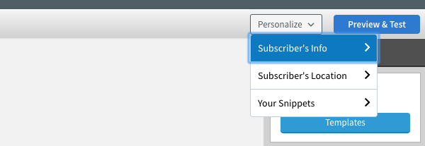 Subscriber's Info option selected in Personalize drop down menu