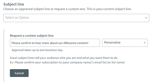 Custom subject line options