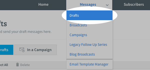 Select Drafts section