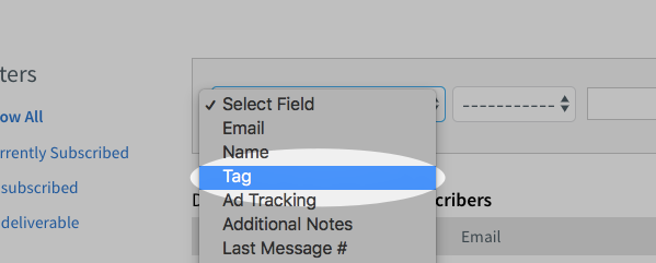 tag field selected from select field drop down menu