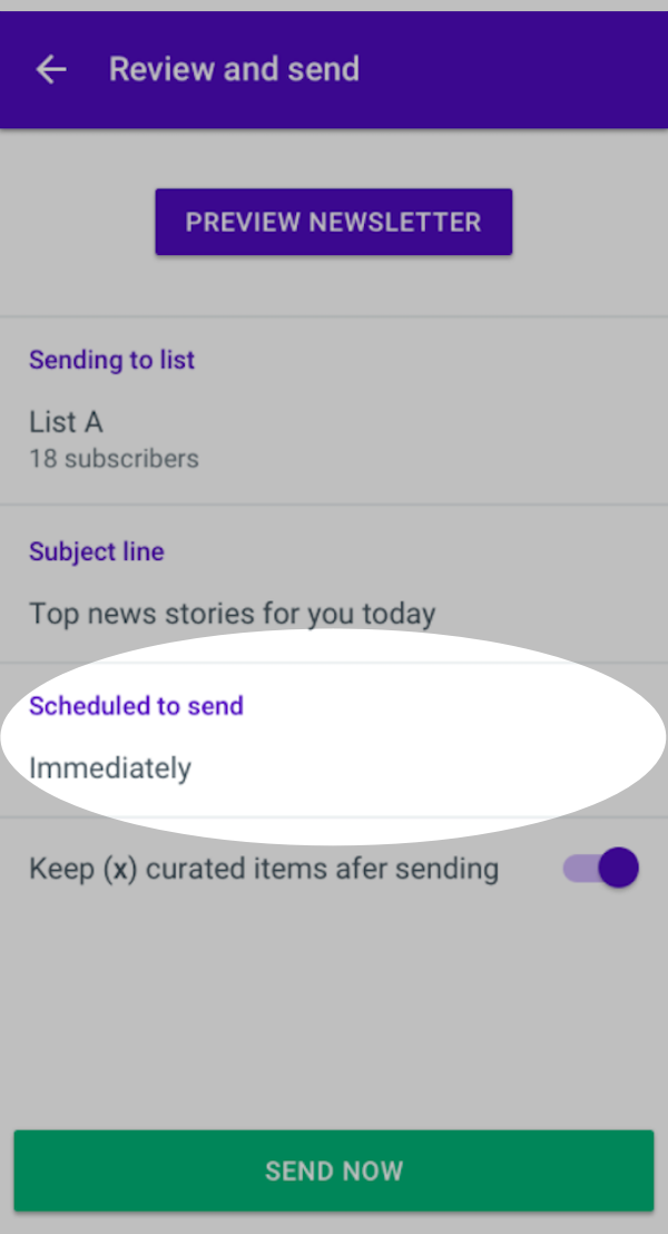 Scheduled to send button highlighted