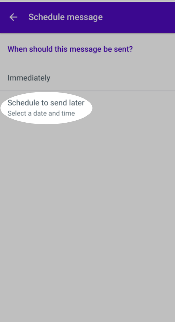 Schedule to send later button highlighted