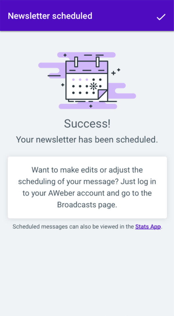 Newsletter scheduled Success page