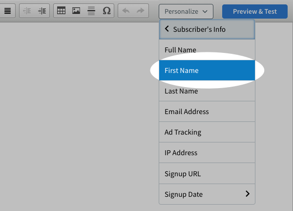 First Name highlighted in drop down menu