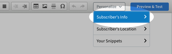 Subscriber's Info highighted in Personalize drop down menu