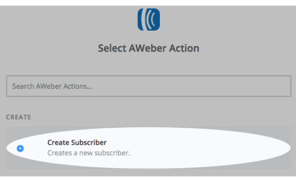 AWeber action selected