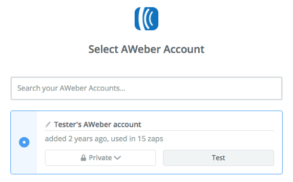 AWeber account selected