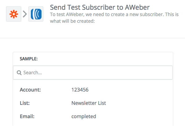 Send Test Subscriber to AWeber section