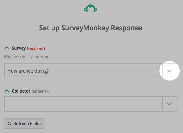 choose survey from drop down menu