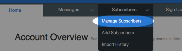 Manage subscribers from subscribers menu