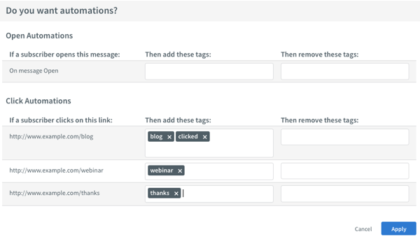 Do you want automations? drop down section displaying links with tags