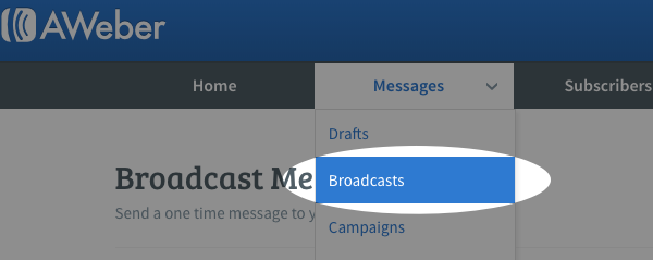 from the messages tab, select broadcasts