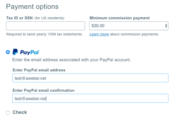 fill out PayPal information, inputting your PayPal email address twice to confirm