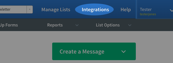click on integrations
