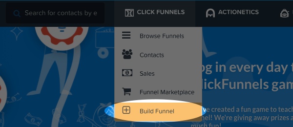click on build funnel
